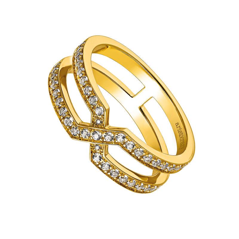 Anillo cruzado plata recubierta oro, J03480-02-WT, hi-res
