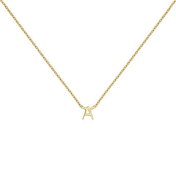 Gold Initial A necklace, J04382-02-A, hi-res
