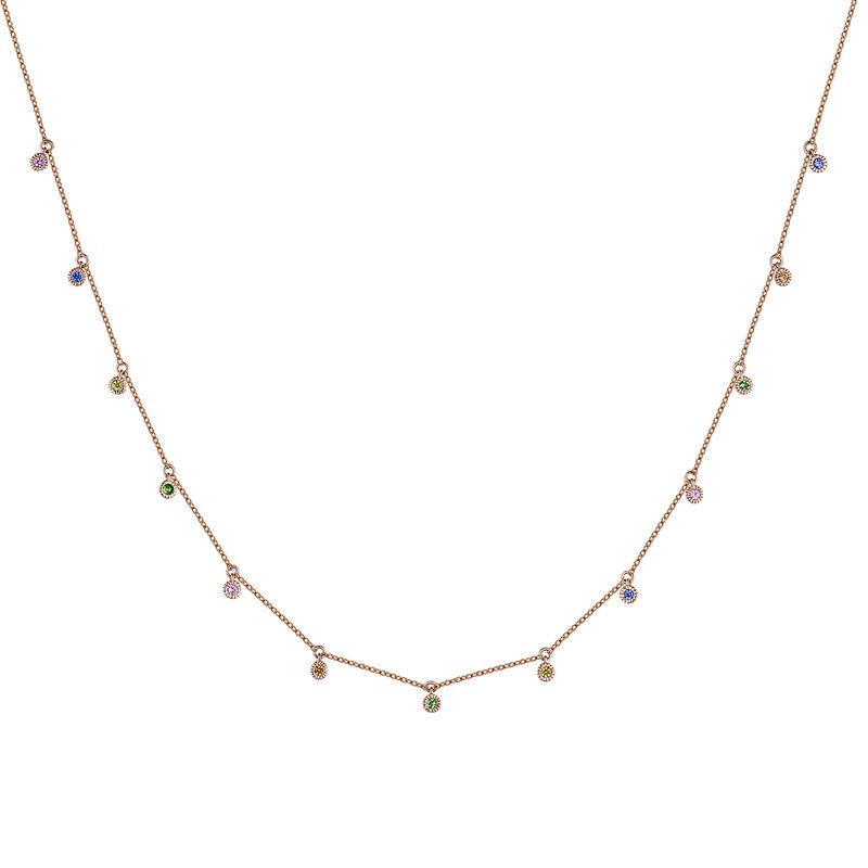Rose gold multicolor sapphire and tsavorite motif necklace