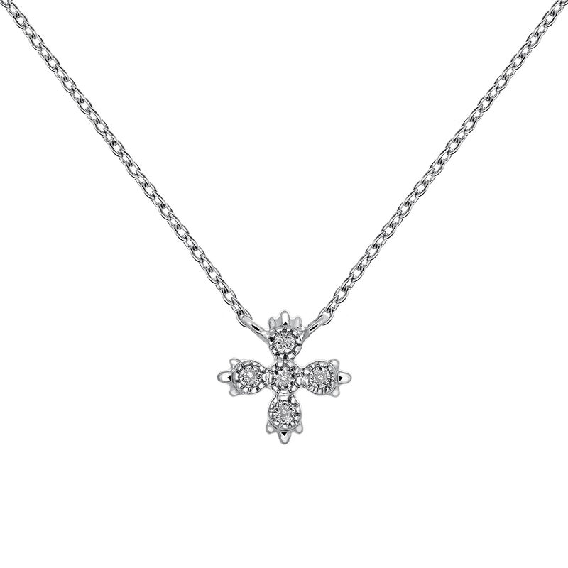 White gold five diamond necklace 0.03 ct, J03396-01, hi-res
