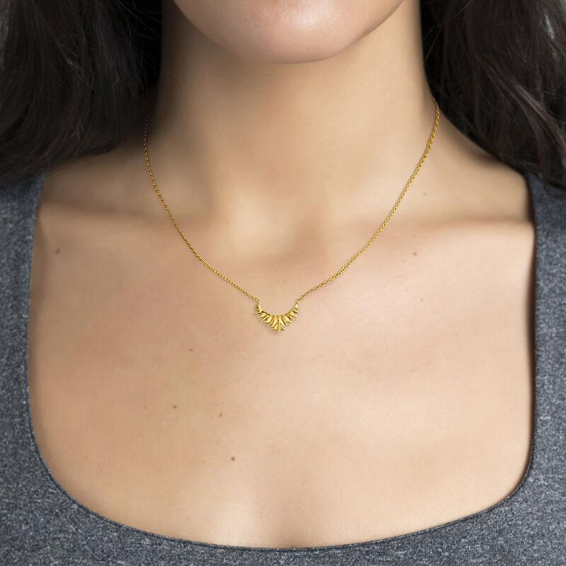 Gold plated leaf motif necklace, J04603-02, hi-res