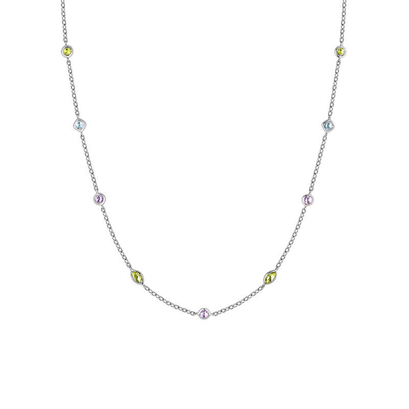 Silver mix gemstones necklace, J03765-01-AMPESB, hi-res