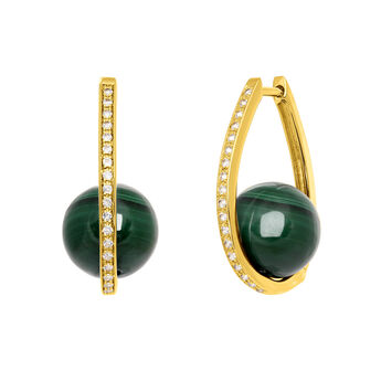 Boucles d'oreilles ovales malachite or, J03508-02-WT-MA, hi-res