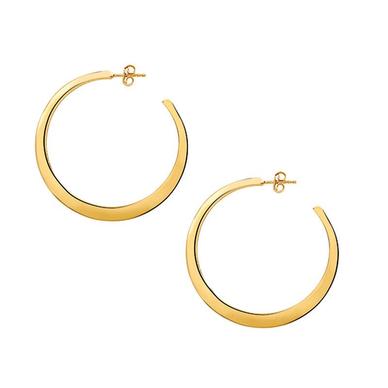 Gold Flat Large Hoop Earrings, J03099-02, hi-res