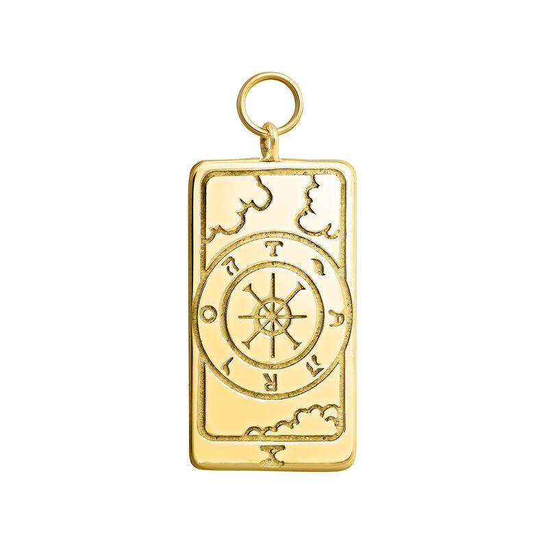 Gold plated La Rue de la Fortune card pendant, J04043-02, hi-res