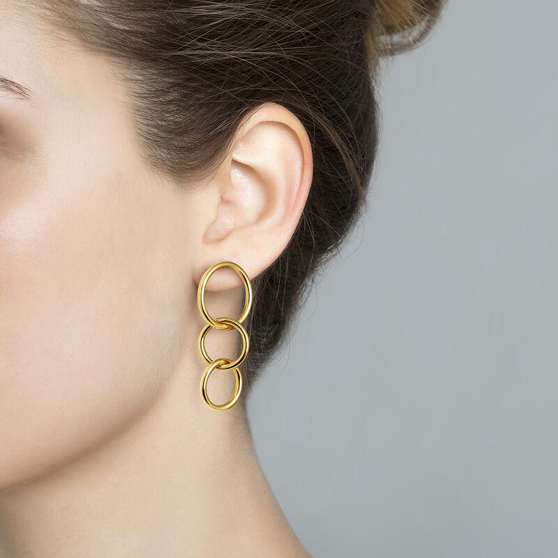Gold medium hoop earrings, J03586-02, hi-res