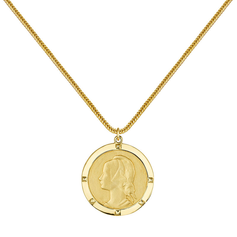 Gold plated portrait coin pendant, J03591-02, hi-res
