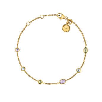 Gold plated stones mix bracelet, J03764-02-AMPESB, hi-res