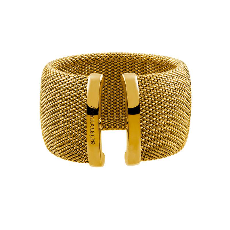 Pulsera rígida malla grande oro, J01482-02, hi-res