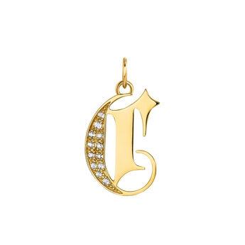 Pendentif lettre gothique C topaze or, J04015-02-WT-C, hi-res