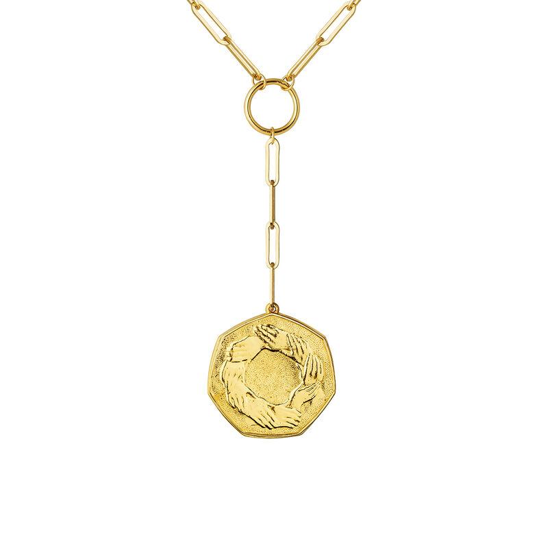 Colgante moneda hexagonal oro, J03593-02, hi-res