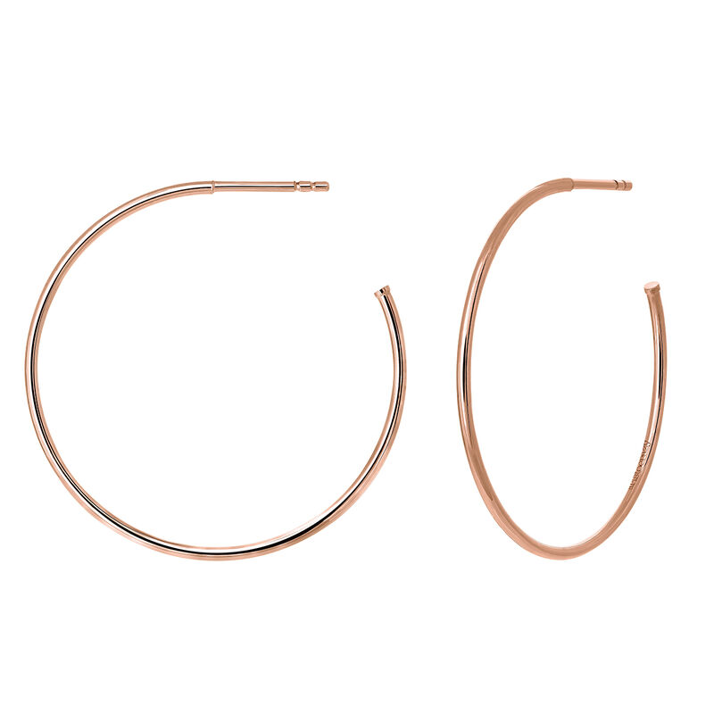 Large thin rose gold plated hoop earrings, J03520-03, hi-res