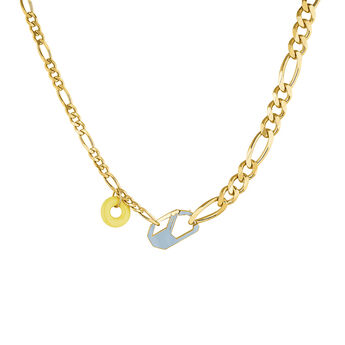Detachable blue gold plated chunky necklace, J04625-02-ENBL, hi-res