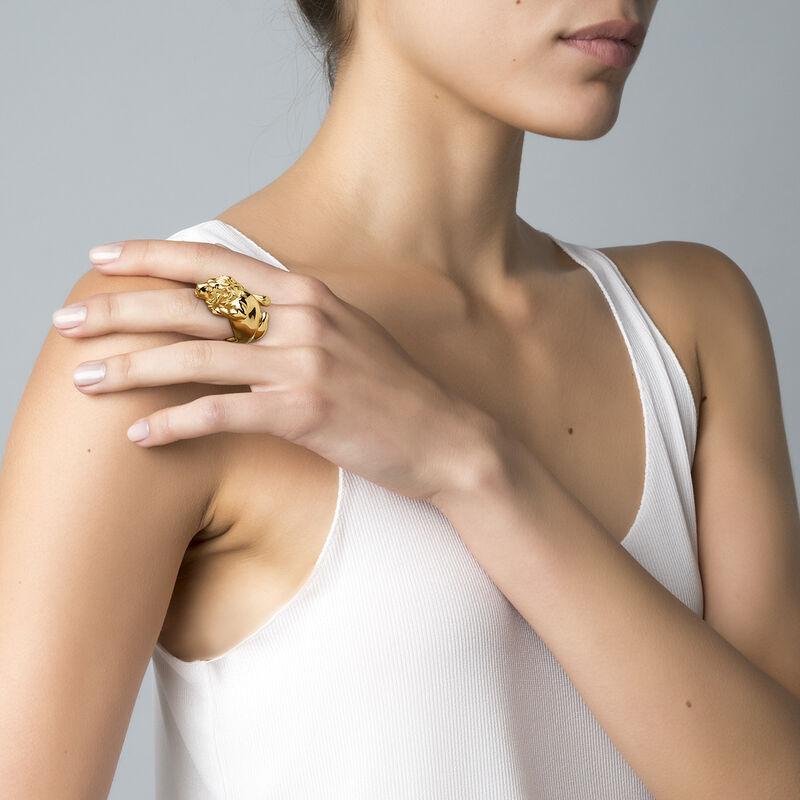 Gold lion ring, J04237-02, hi-res