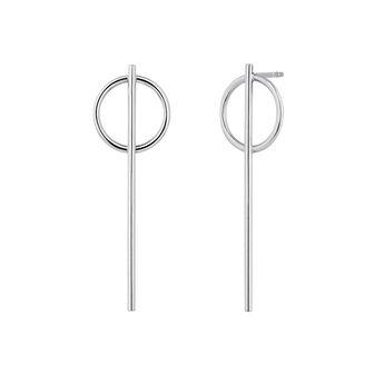 Long silver bar hoop earrings , J04217-01, hi-res