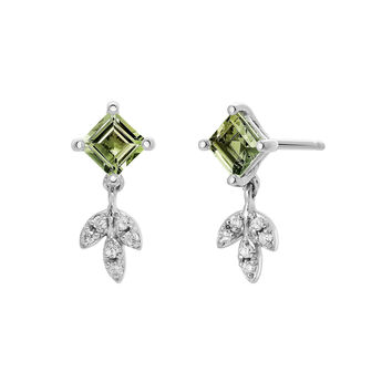 Silver Green Tourmaline Drop Earrings, J03714-01-GTU, hi-res