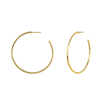Thin hoop earrings gold, J04191-02, hi-res
