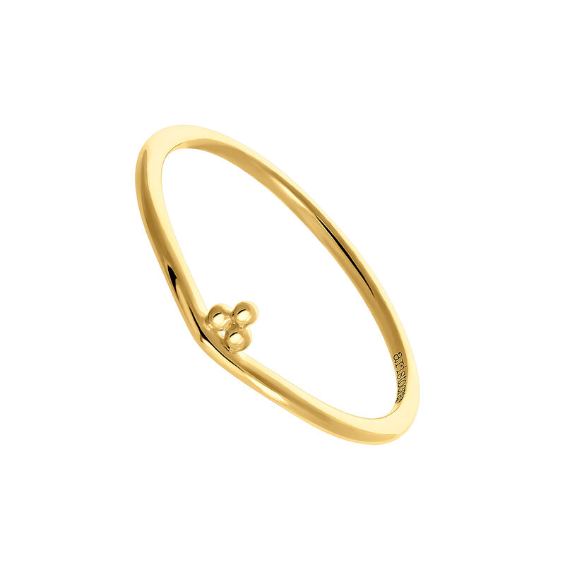 Gold ring with three spheres, J03857-02, hi-res