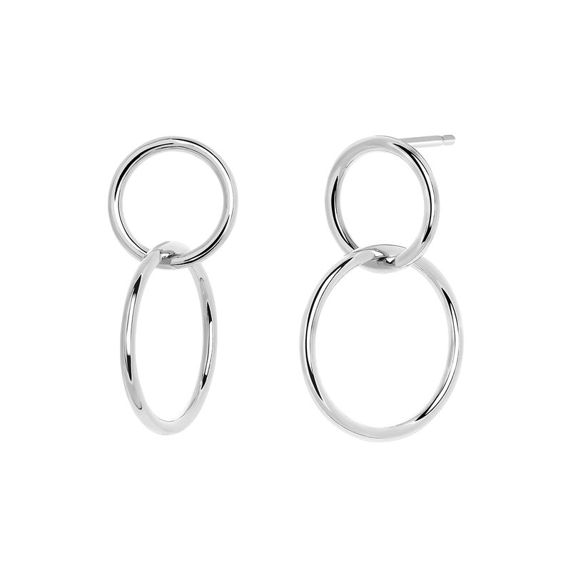 Silver small hoop earrings, J03587-01, hi-res