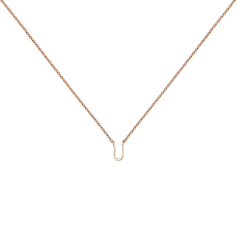 Collier initiale U or rose, J04382-03-U, hi-res