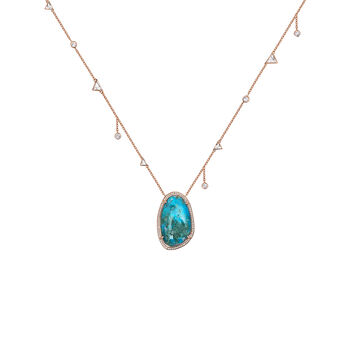 Grand collier boho chrysocolle et topazes argent plaqué or rose, J04116-03-CH-WT, hi-res