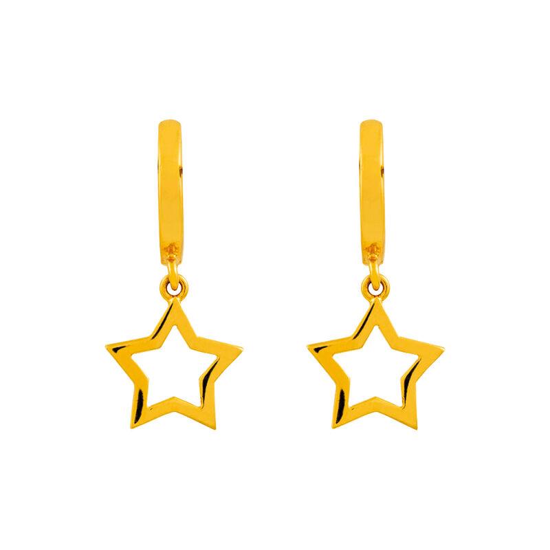 Pendientes aro estrella oro, J01905-02, hi-res