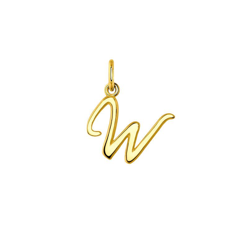 Colgante inicial W plata recubierta oro, J03932-02-W, hi-res
