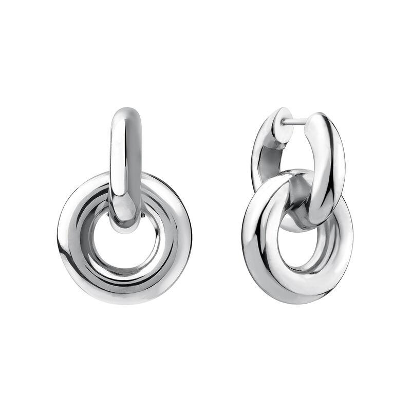 Boucles d'oreilles créoles entralcées épaisses argent, J03655-01, hi-res