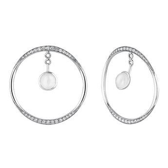 Silver moonstone white topaz hoop earrings, J04157-01-WMS-WT, hi-res
