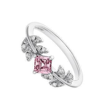 Silver Pink Tourmaline Leaf Ring, J03707-01-PTU, hi-res