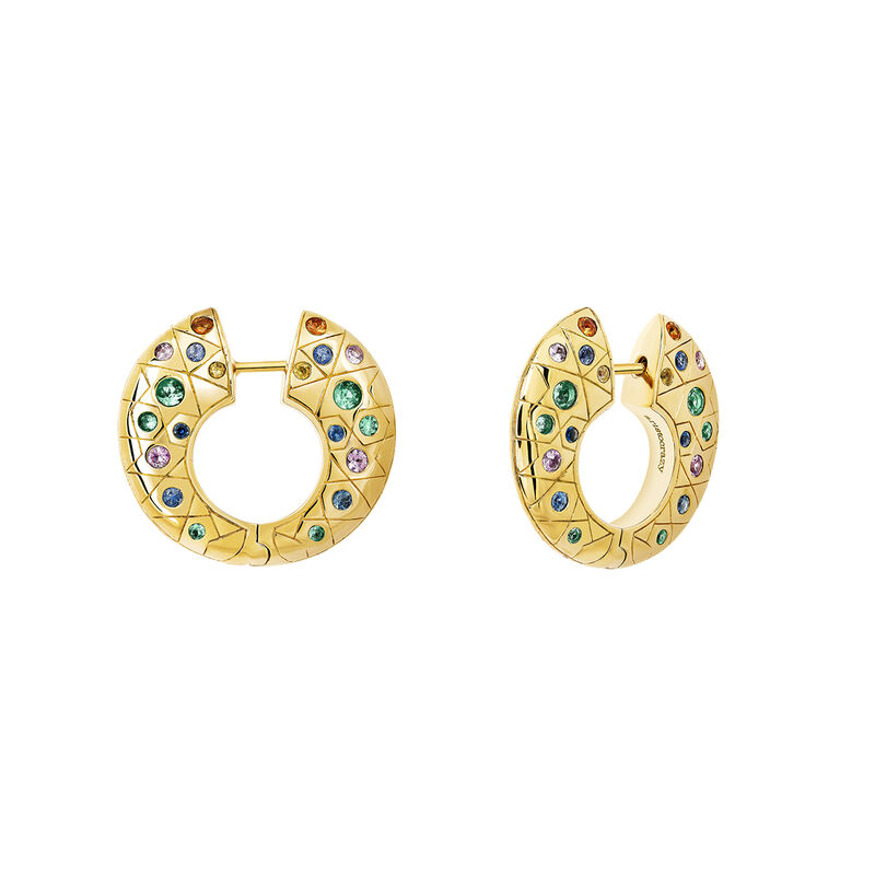 Large gold hoop earrings with stones, YELLOWGOLDPLTD STERLING SILVER, hi-res