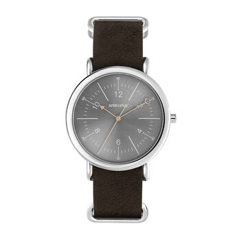 Camps Bay watch brown strap with grey face, W49A-STSTGR-LEDB, hi-res
