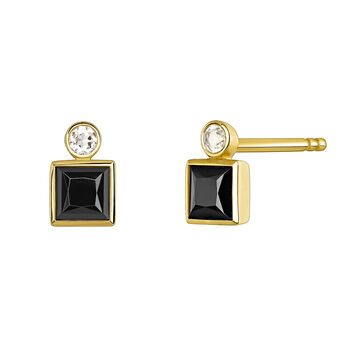 Small gold plated earrings with spinels, J04088-02-BSN-WT, hi-res