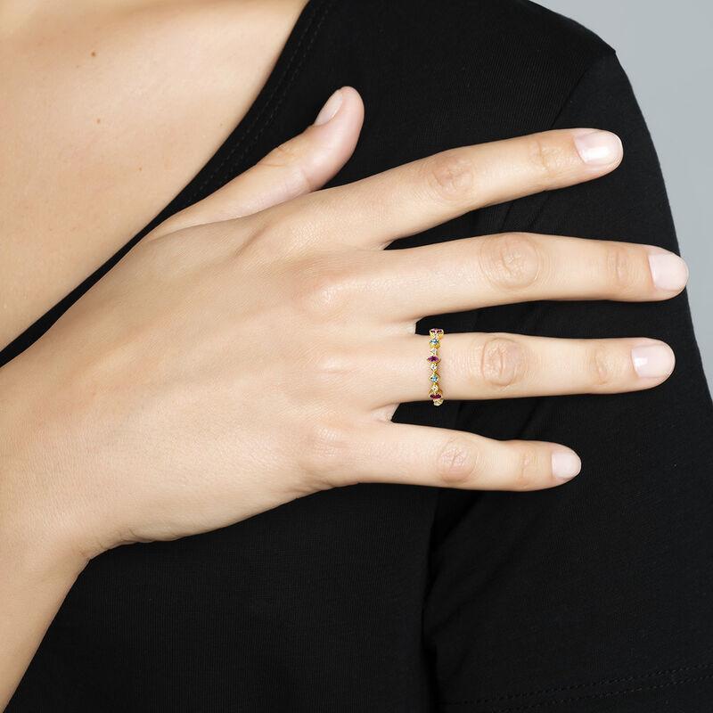 Gold plated mixed stone ring, J04662-02-WT-LB-RO, hi-res