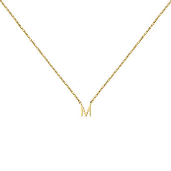 Gold Initial M necklace, J04382-02-M, hi-res