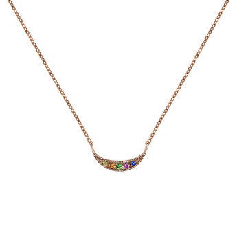 Rose gold multicolor sapphire and tsavorite crescent necklace , J04342-03-MULTI, hi-res