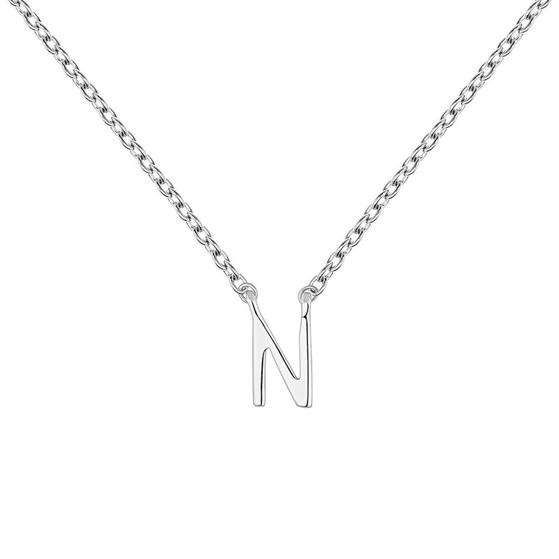 Collier iniciale N or blanc, J04382-01-N, hi-res