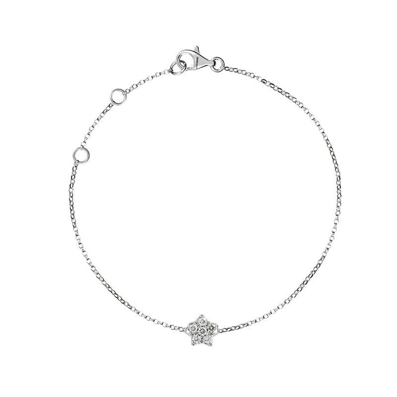 White gold star bracelet diamonds 0.05 ct, J01349-01, hi-res