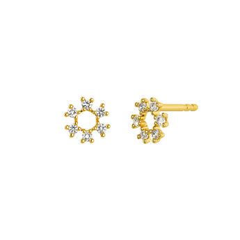 Gold lucky circle earrings, J03826-02-WT, hi-res