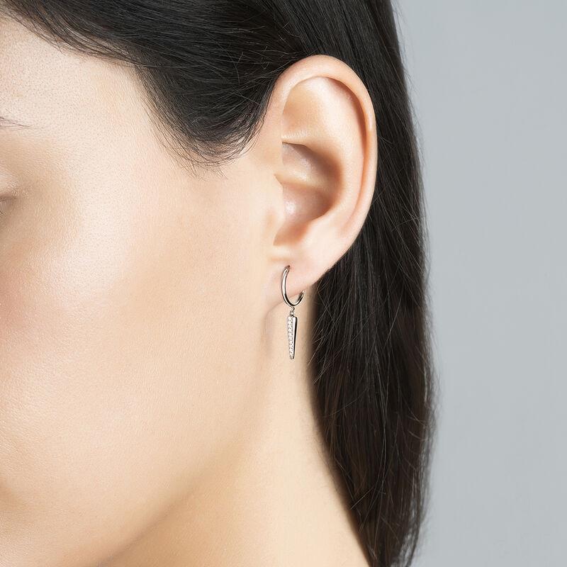 Pendiente piercing de aro pincho diamantes oro blanco 0,04 ct, J03872-01-H, hi-res