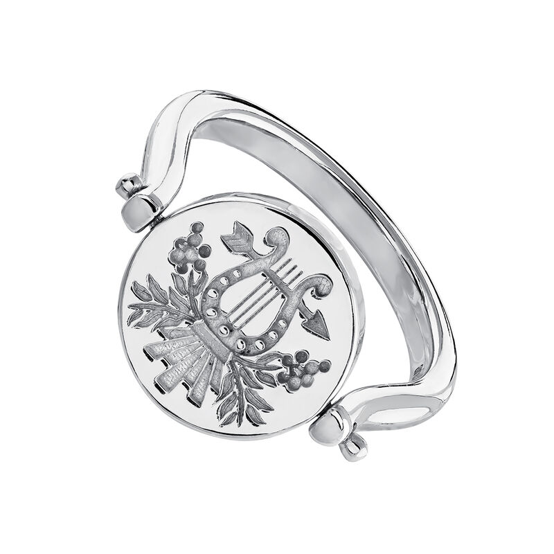 Reversible silver unicorn/lyre signet ring, J04190-01, hi-res