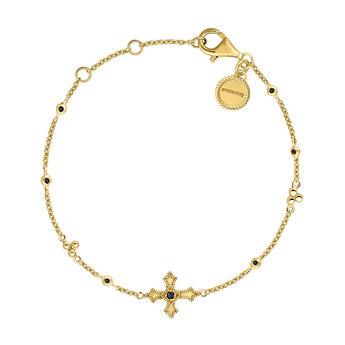 Pulsera cruz pequeña espinelas plata recubierta oro, J04234-02-BSN, hi-res
