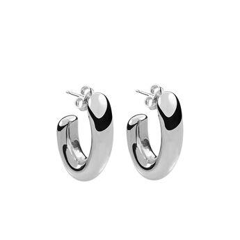 Pendientes ovales pequeños plata, J00799-01, hi-res