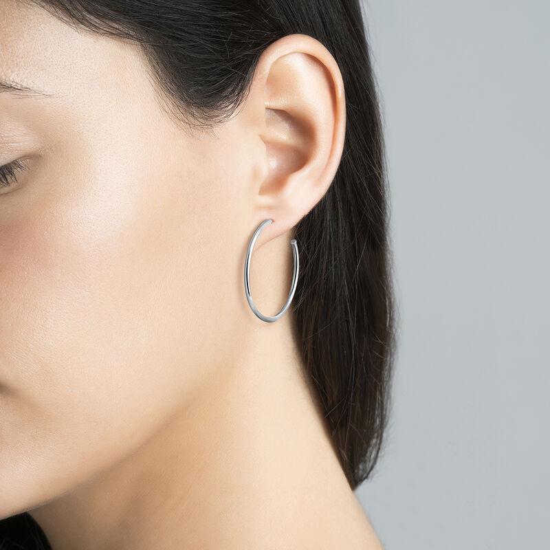 Boucles d'oreilles créoles moyennes argent, J03519-01, hi-res