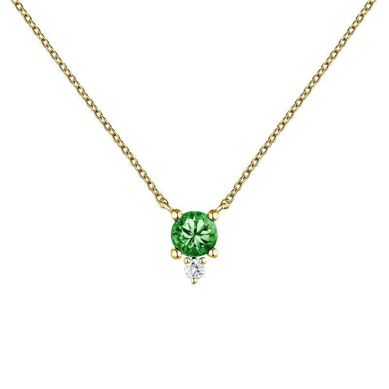Ring emerald and diamonds gold, J04081-02-EM, hi-res