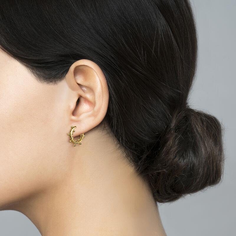 Gold plated silver piercing balls hoop earrings, J04320-02, hi-res