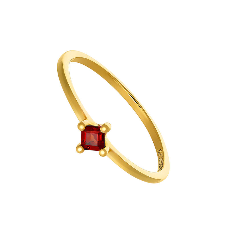 Gold garnet ring, YELLOWGOLDPLTD STERLING SILVER, hi-res
