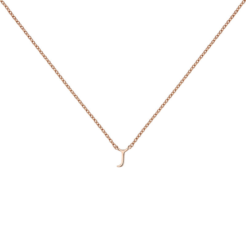 Rose gold Initial J necklace, J04382-03-J, hi-res