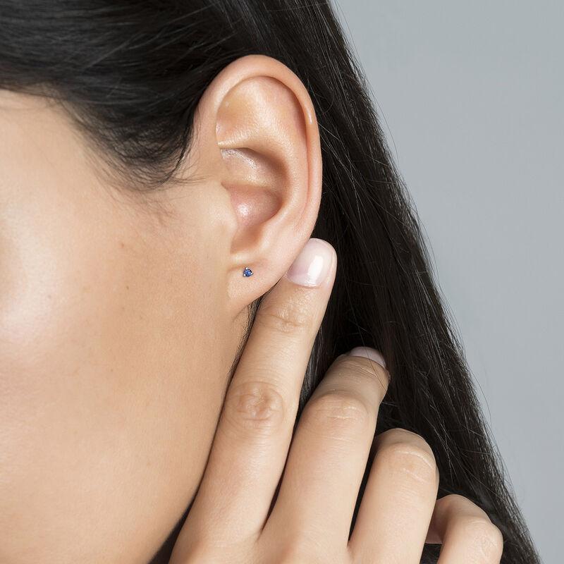 Mini white gold sapphire earring, J04345-01-BS-H, hi-res