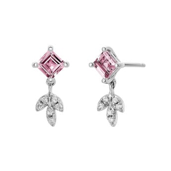 Silver Pink Tourmaline Drop Earrings, J03714-01-PTU, hi-res